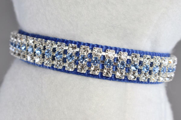"Berry Blue Rhinestone Collar - 5/8"" Wide"