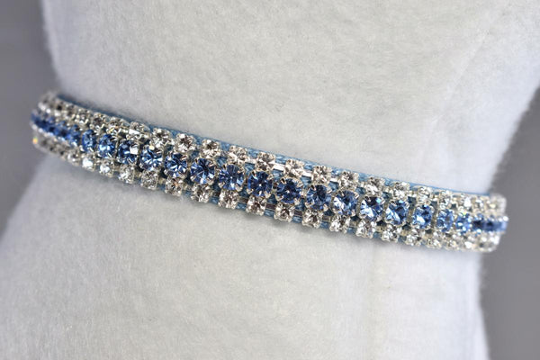 "Berry Blue Heart Charm Rhinestone Cat Safety Collar - 3/8"" Wide"