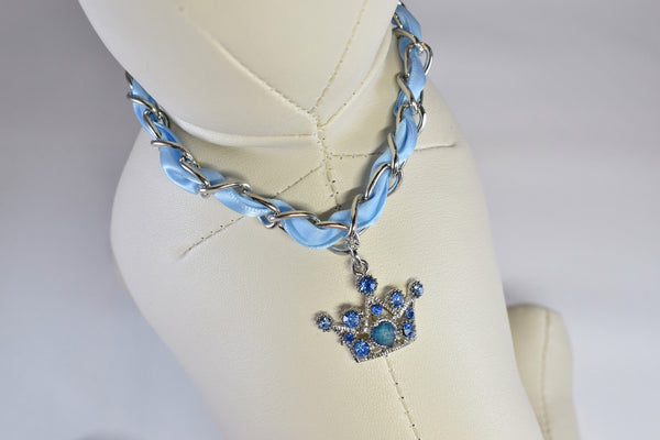 NEW! Blue Ribbon Crown Rhinestone Necklace