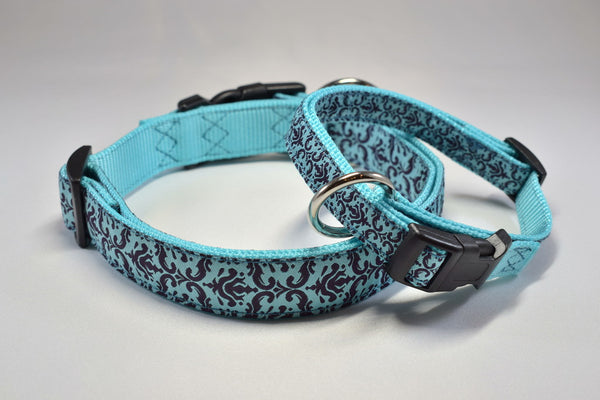 Blue Damask Adjustable Ribbon Collar