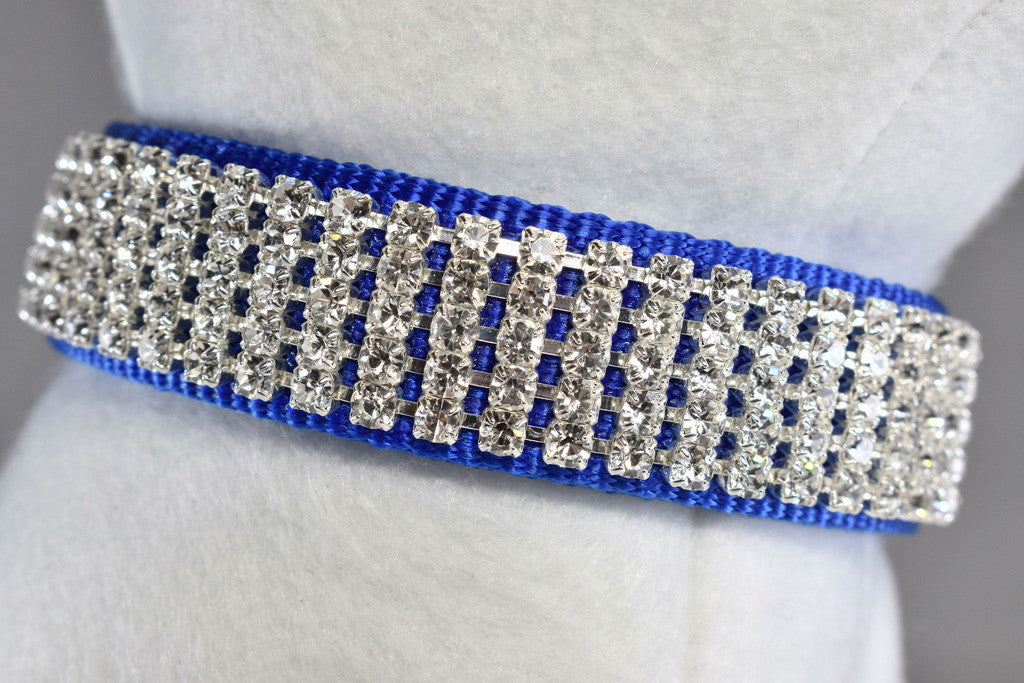 "Blue Pure Elegance Rhinestone Collar - 1"" Wide"