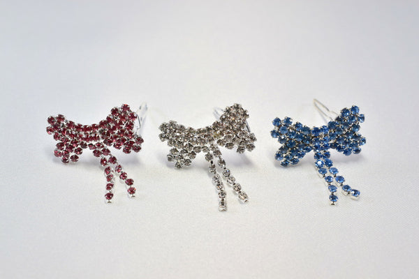 Rhinestone Bow Hair Barrettes