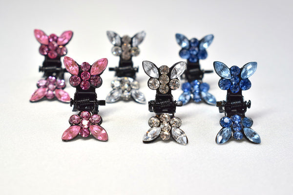 Rhinestone Butterfly Hair Clips