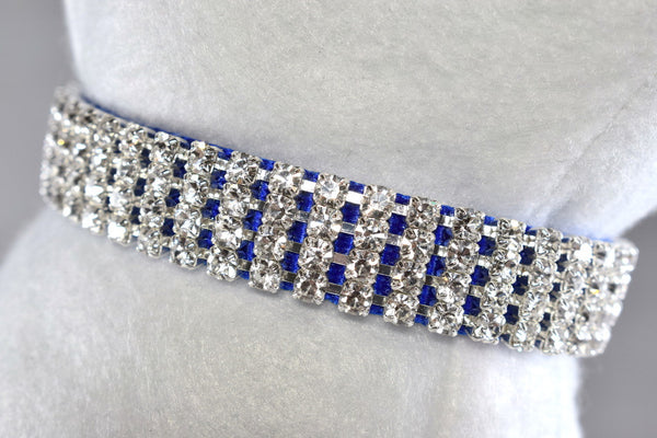 "Blue Elegance Rhinestone Collar - 5/8"" Wide"