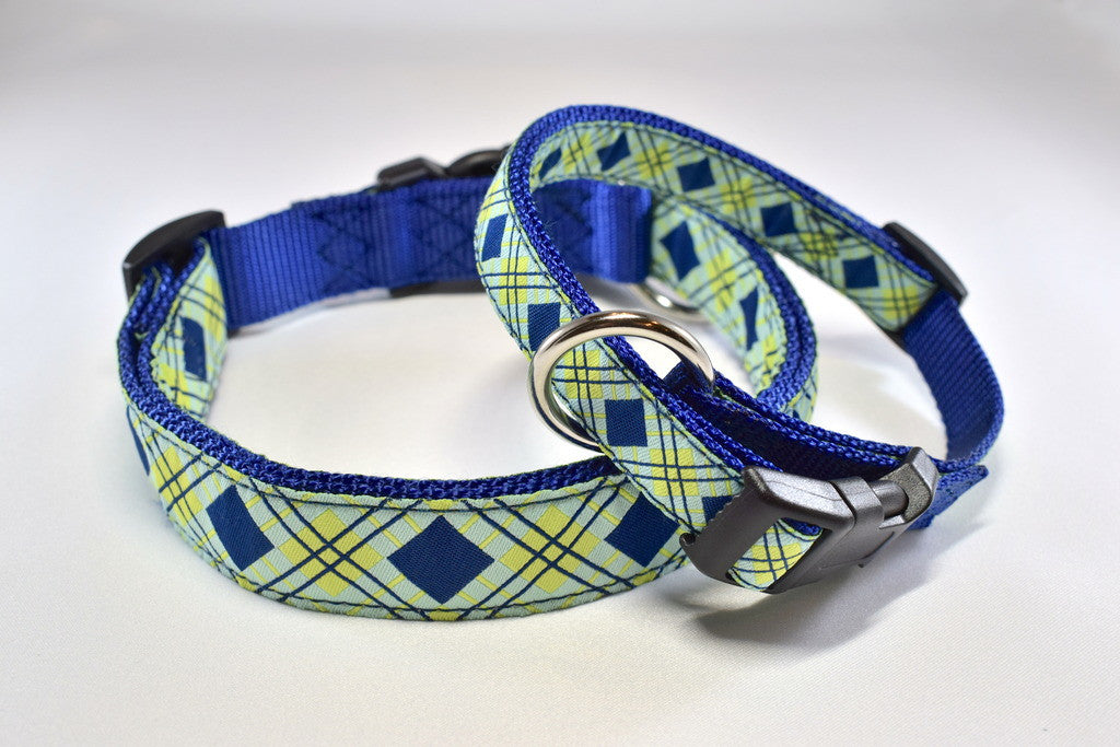 Blue Diamond Adjustable Ribbon Collar