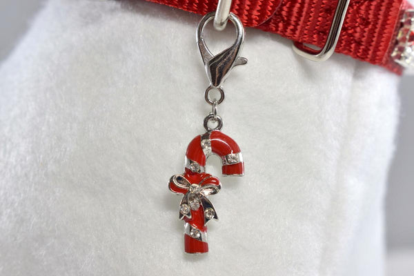 NEW! Candy Cane w/Rhinestone Accent Collar Charm