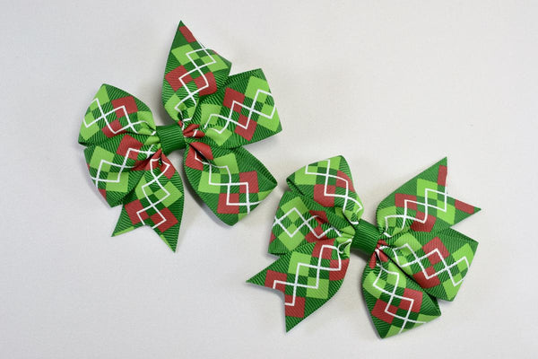 NEW! Christmas Argyle Bow Hair Barrette
