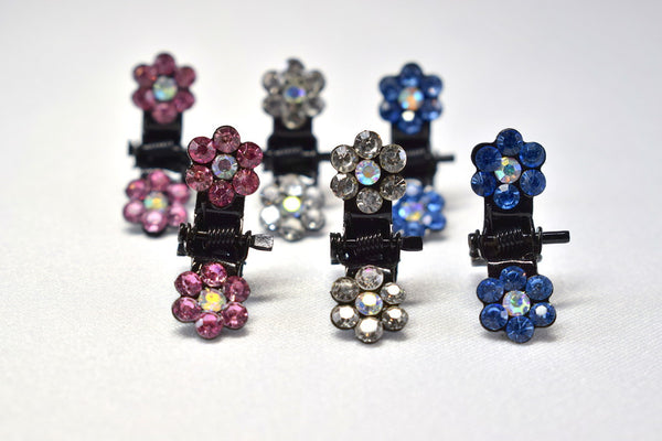 Rhinestone Flower Hair Clips