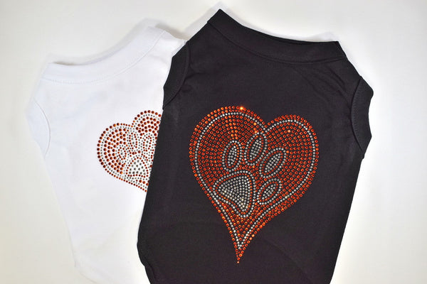 Heart with Paw Rhinestone Pet Shirt