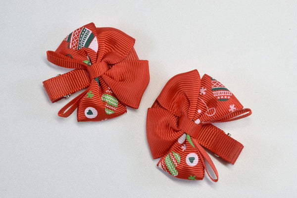 NEW! Holiday Mittens Bow Hair Clip
