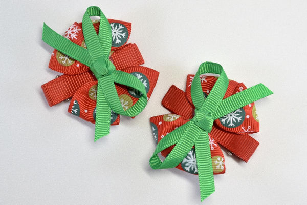 NEW! Holiday Snowflake Bow Hair Clip