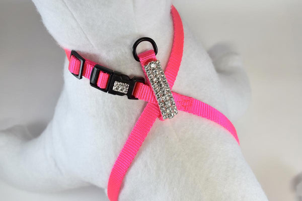 "Hot Pink Elegance Rhinestone Adjustable Figure 8 Harness - 3/8"" Wide"