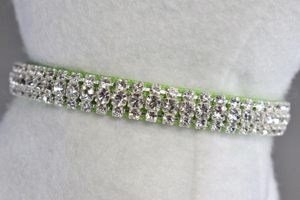 "Kiwi Lime Green Heart Charm Rhinestone Cat Safety Collar - 3/8"" Wide"