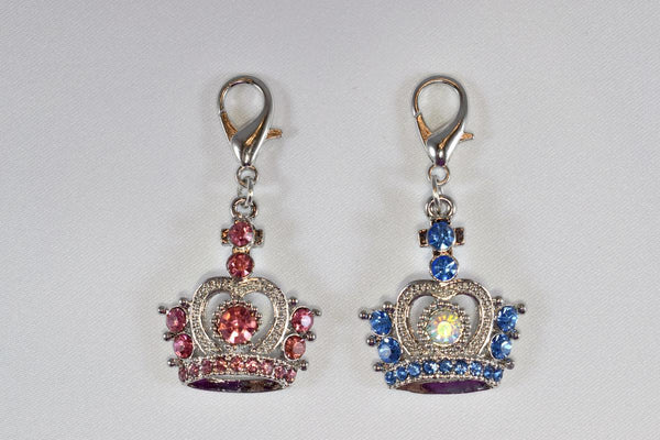 Large Rhinestone Crown Collar Charm