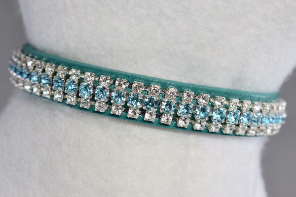 "NEW! Leather Bahama Blue Rhinestone Collar - 1/2"" Wide"