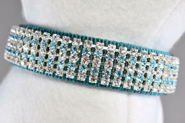 "Bahama Blue Rhinestone Collar - 1"" Wide"