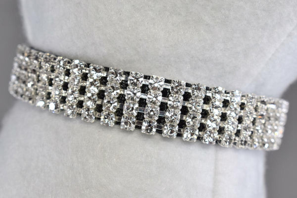 "Black Elegance Rhinestone Collar - 5/8"" Wide"