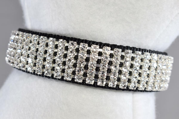 "Black Pure Elegance Rhinestone Collar - 1"" Wide"
