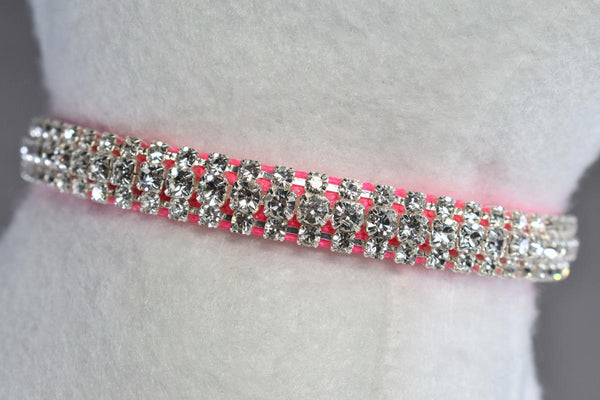 "Hot Pink Petite Elegance Rhinestone Cat Safety Collar - 3/8"" Wide"