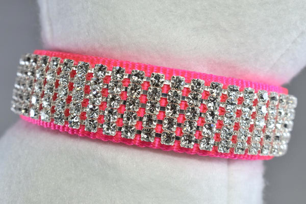 "Hot Pink Pure Elegance Rhinestone Collar - 1"" Wide"