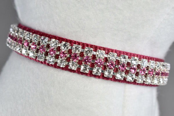 "Pretty in Pink Rhinestone Collar - 5/8"" Wide"