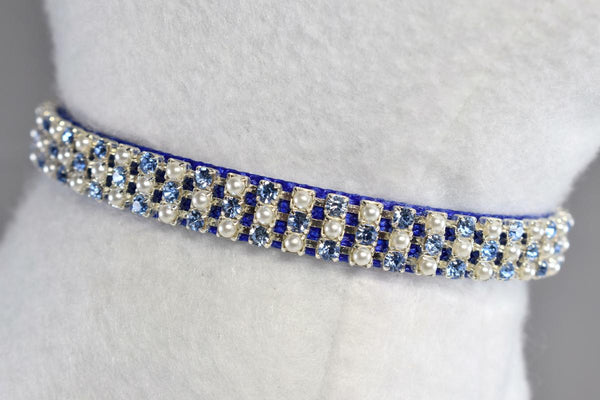 "Prince Charming Swarovski® Rhinestone & Pearl Cat Safety Collar - 3/8"" Wide"
