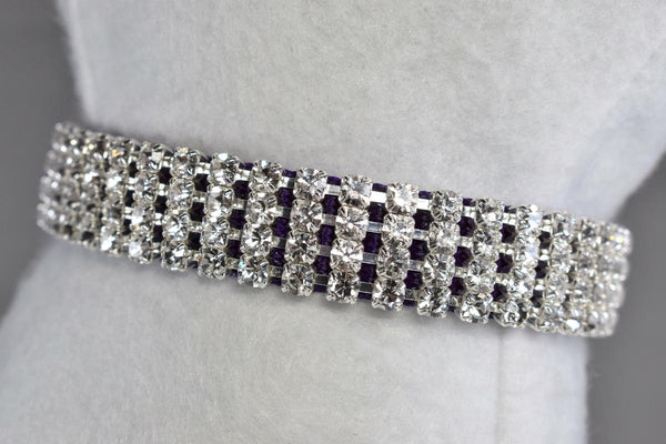 "Purple Elegance Rhinestone Collar - 5/8"" Wide"
