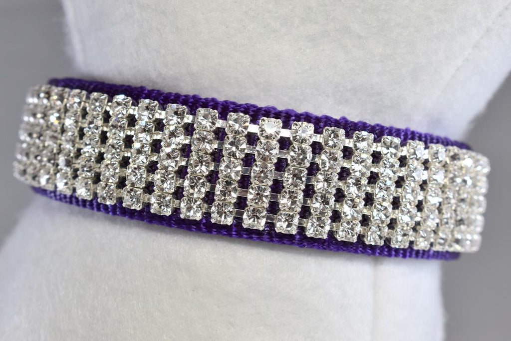 "Purple Pure Elegance Rhinestone Collar - 1"" Wide"