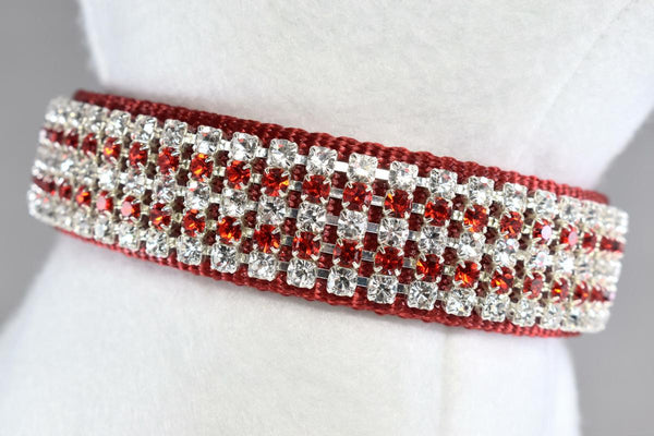 "Radiance Red Rhinestone Collar - 1"" Wide"