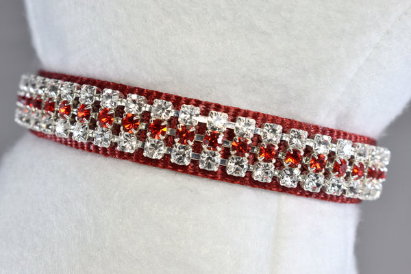 "Radiance Red Rhinestone Collar - 5/8"" Wide"