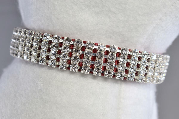 "Red Elegance Rhinestone Collar - 5/8"" Wide"