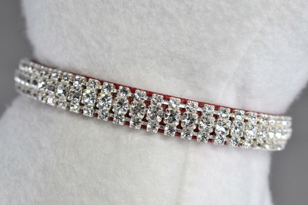 "Red Petite Elegance Rhinestone Cat Safety Collar - 3/8"" Wide"