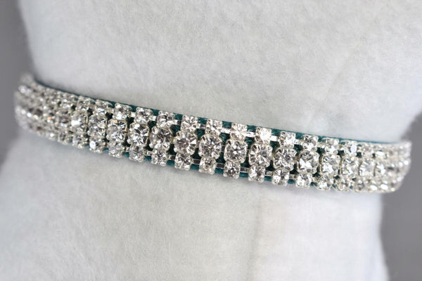 "Teal Petite Elegance Rhinestone Cat Safety Collar - 3/8"" Wide"