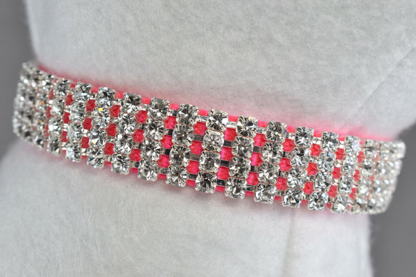 "Hot Pink Elegance Rhinestone Collar - 5/8"" Wide"