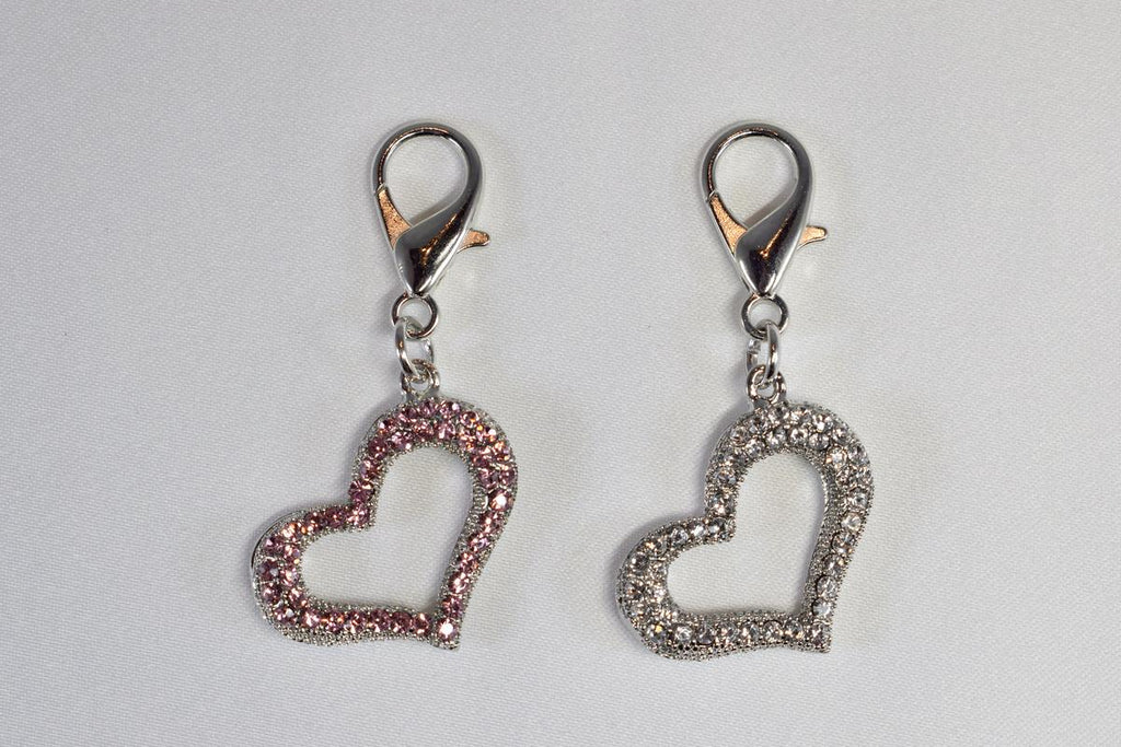 Open Heart Rhinestone Collar Charm