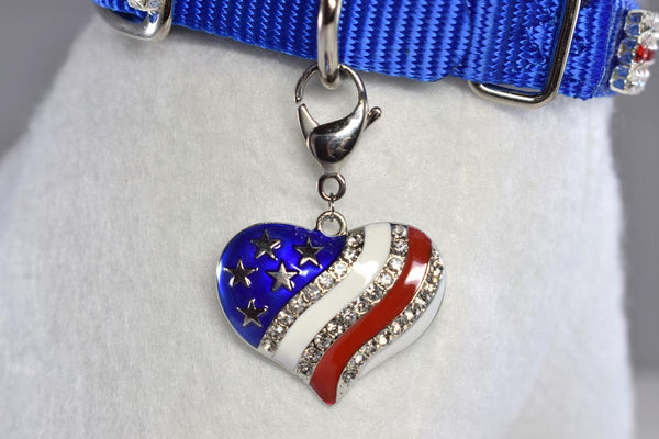NEW! Patriotic Heart w/Rhinestone Accent Collar Charm