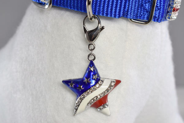 NEW! Patriotic Star w/Rhinestone Accent Collar Charm