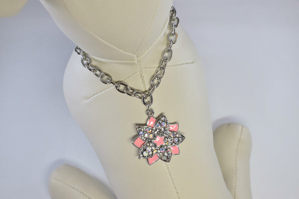 NEW! Pink Floral Elegance Rhinestone Necklace