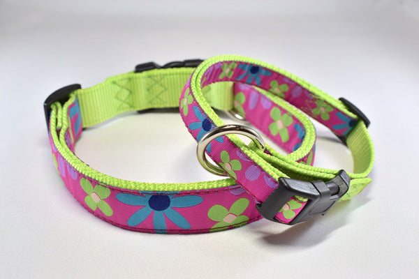 Pink Floral Adjustable Ribbon Collar