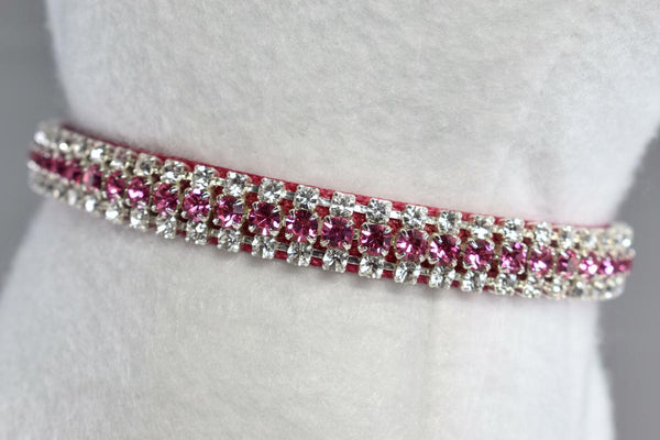 "Pink Raspberry Heart Charm Rhinestone Cat Safety Collar - 3/8"" Wide"