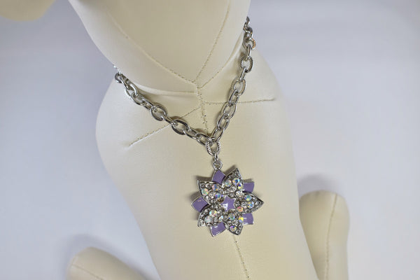 NEW! Purple Floral Elegance Rhinestone Necklace