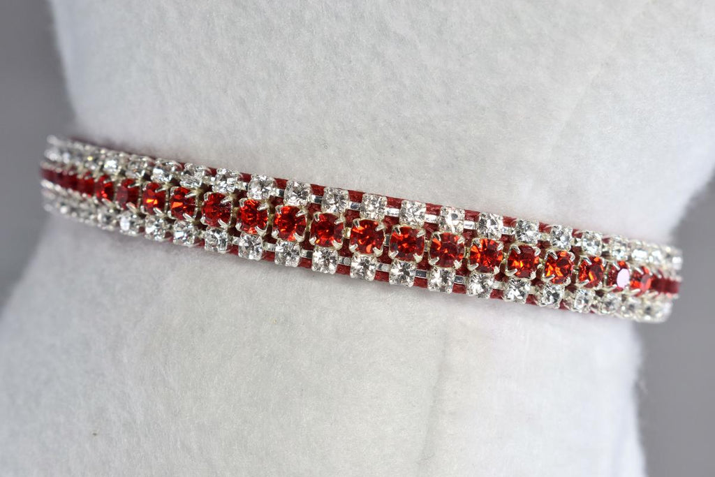 "Radiance Red Petite Rhinestone Cat Safety Collar - 3/8"" Wide"