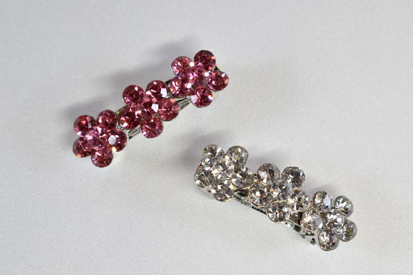 Rhinestone Triple Flower Hair Barrettes