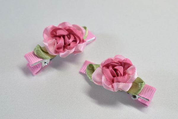 Pink Ribbon Flower Hair Clips