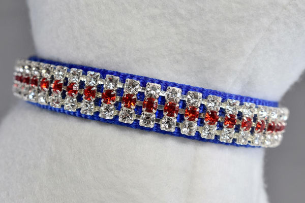 "NEW! Stars and Stripes Rhinestone Collar - 5/8"" Wide"