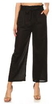P9388 WIDE LEG PANTS RUFFLE W/TIE (3PCS) BLACK