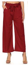 P9388 WIDE LEG PANTS RUFFLE W/TIE (3PCS) BURGUNDY