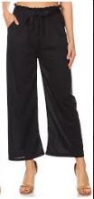 P9388 WIDE LEG PANTS RUFFLE W/TIE (3PCS) NAVY