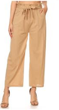 P9388 WIDE LEG PANTS RUFFLE W/TIE (3PCS) TAN