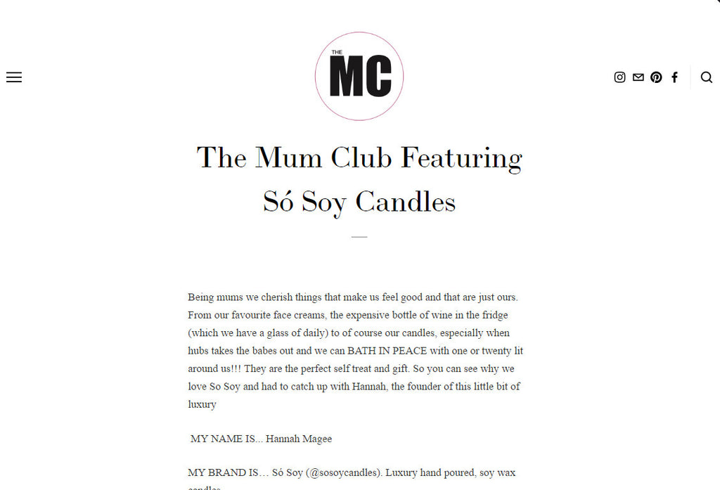 The Mum Club 'Behind the Brand' Interview - Só Soy Candles